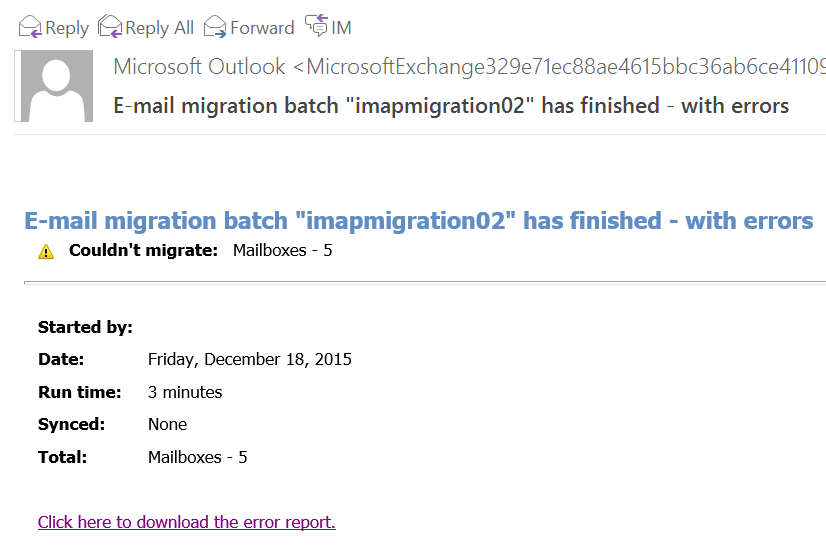 Office 365 IMAP Email Migration Batch Failed
