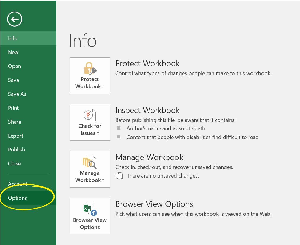 Open Options In Excel 2016