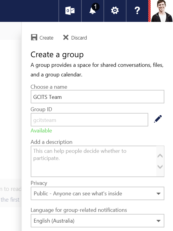 Outlook Web App Group Details