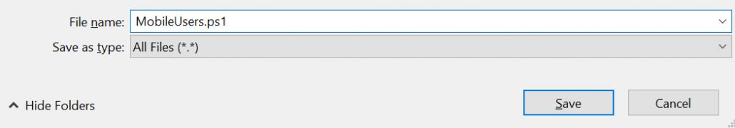 Save As PowerShell Script File