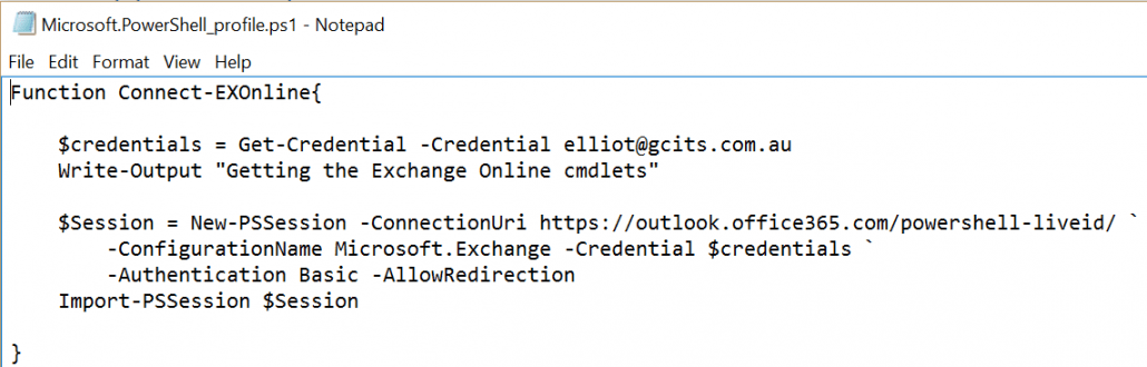 Save Exchange Online Function In Notepad