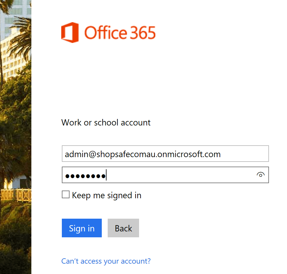 Sign in as new admin