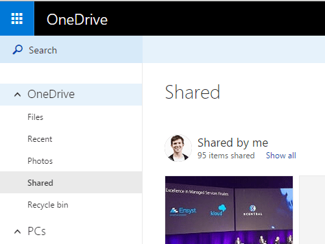 View Shared folders on OneDrive