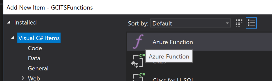 Add New Azure Function To Project
