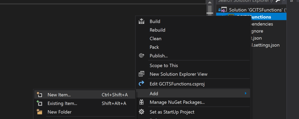 Add New Item To Project In Visual Studio