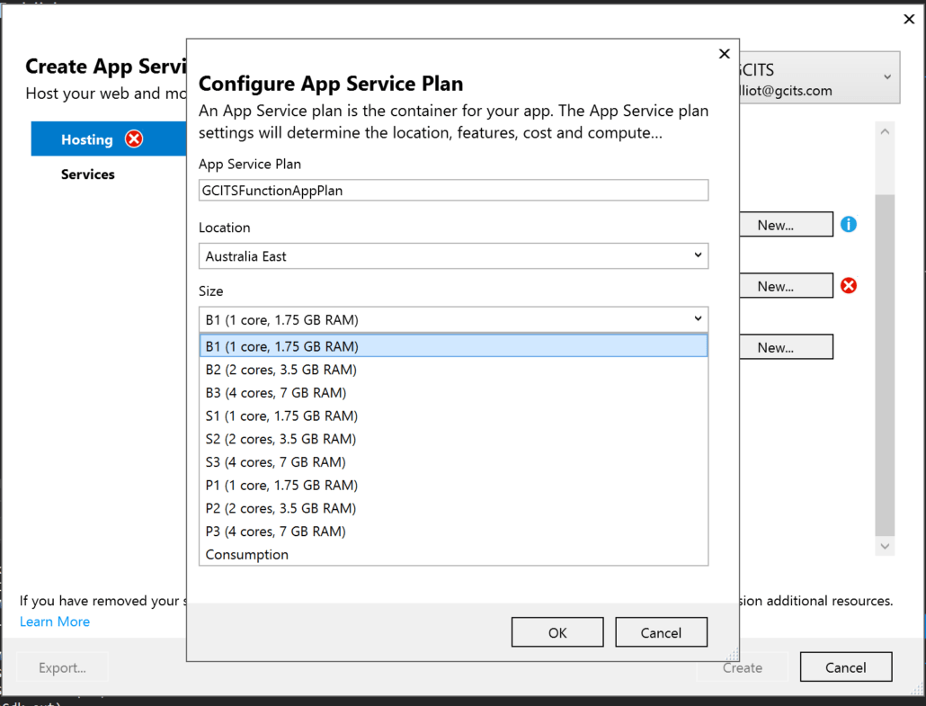 Choose Azure App Service Plan