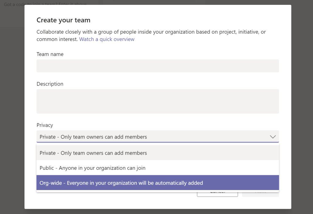 Create An Org Wide Microsoft Team