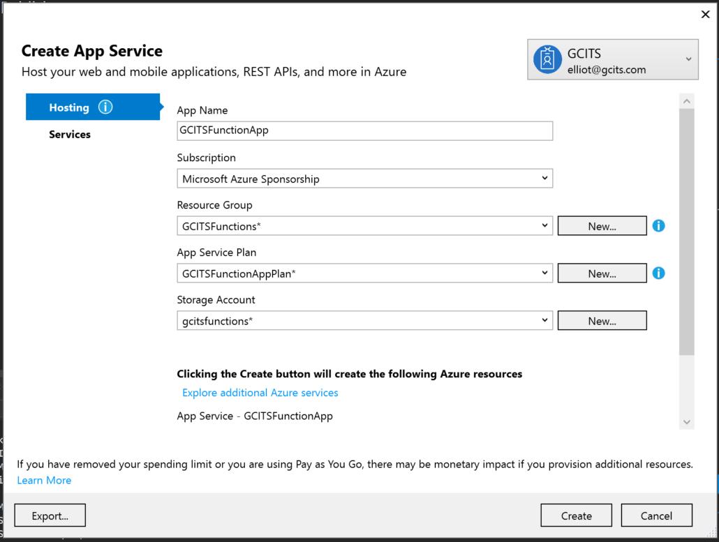 Create Azure App Service