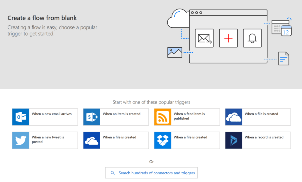 Create Microsoft Flow From Blank