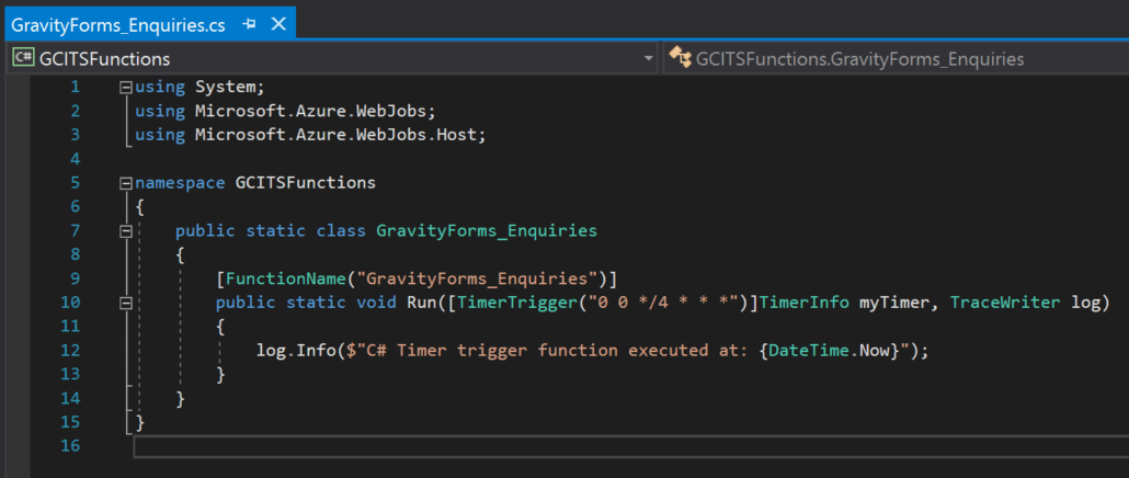 CreatedAzure Function In Visual Studio
