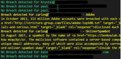 Detecting accounts associated with breaches