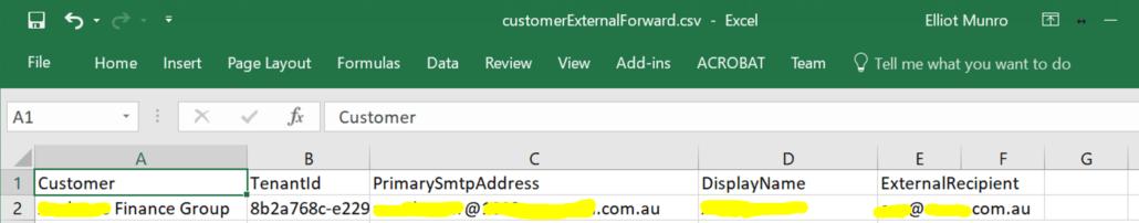 External forwarding mailbox csv