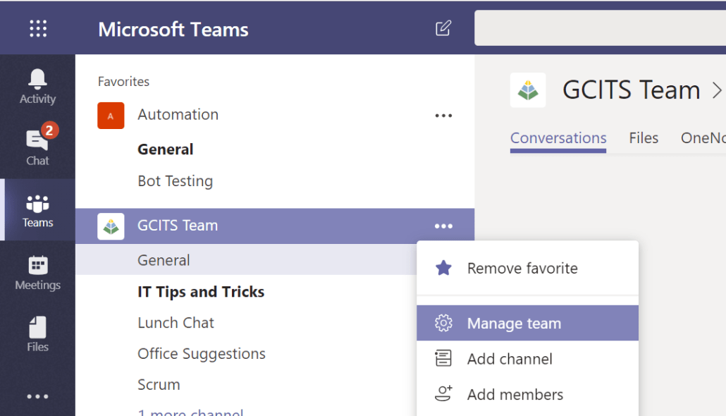 Managing A Microsoft Team