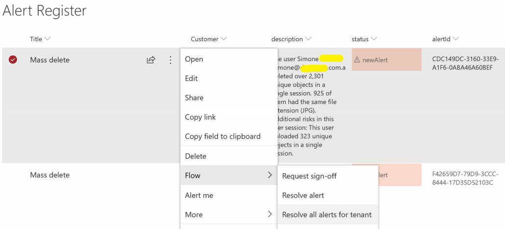 Resolve Alert In Microsoft Flow From SharePoint