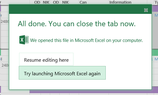Try Launching Microsoft Excel Again