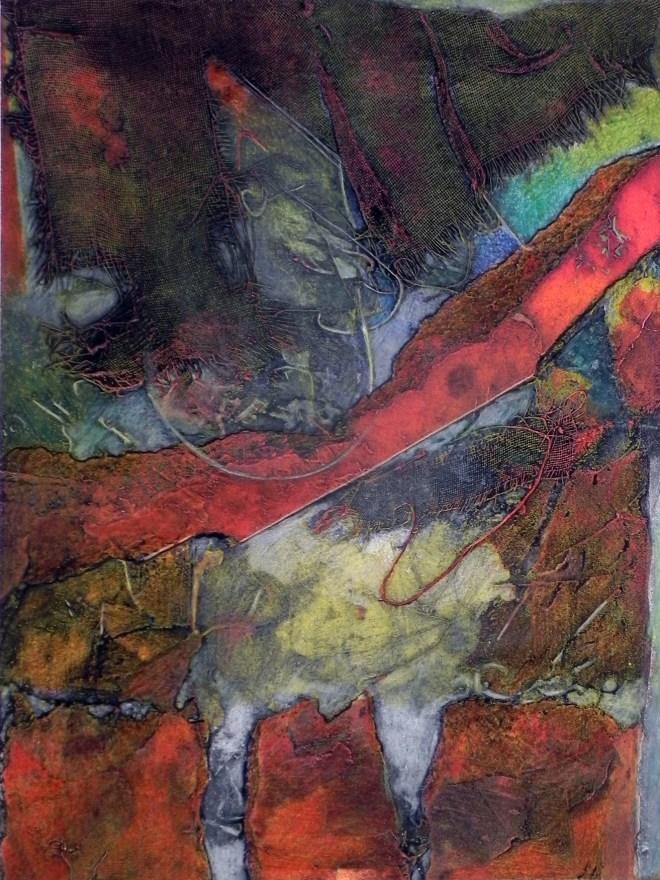"Barrier, 12x18"", collagraph by Garry C Kaulitz"