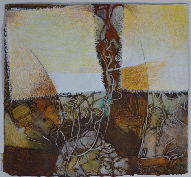 """Behind the Curtain, 18x20"""", collagraph by Garry C Kaulitz"""