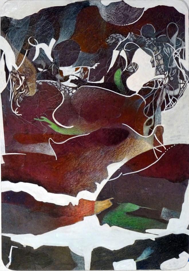 """Night Intruder, 12x17"""", collagraph by Garry C Kaulitz"""