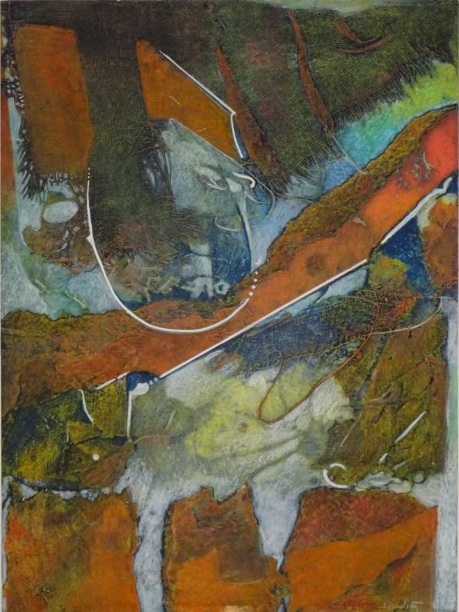 """Under Current, 20x15"""", collagraph by Garry C Kaulitz"""