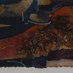 "Photo Finish, 30x7"", collagraph by Garry C Kaulitz"