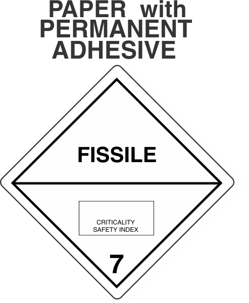 Radioactive FISSILE Class 7 Paper Labels