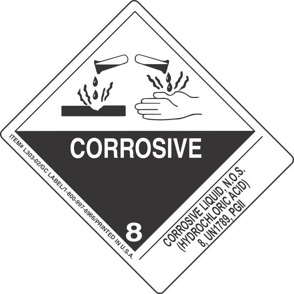 Corrosive Liquid, N.O.S. (Hydrochloric Acid) 8, UN1789, PGII