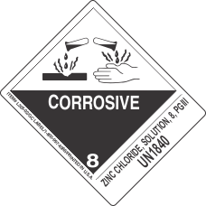Zinc Chloride, Solution, 8, PGIII UN1840