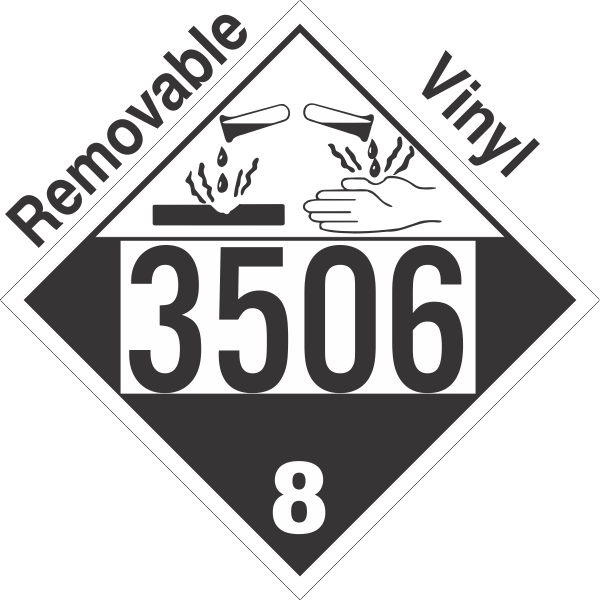Corrosive Class 8 UN3506 Removable Vinyl DOT Placard