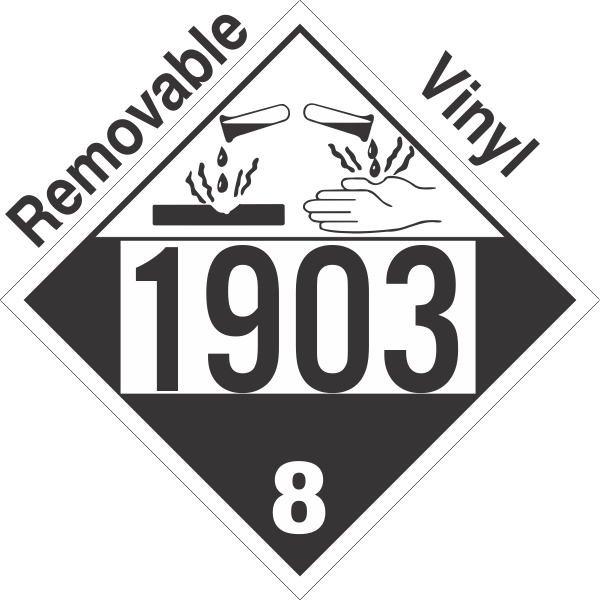 Corrosive Class 8 UN1903 Removable Vinyl DOT Placard