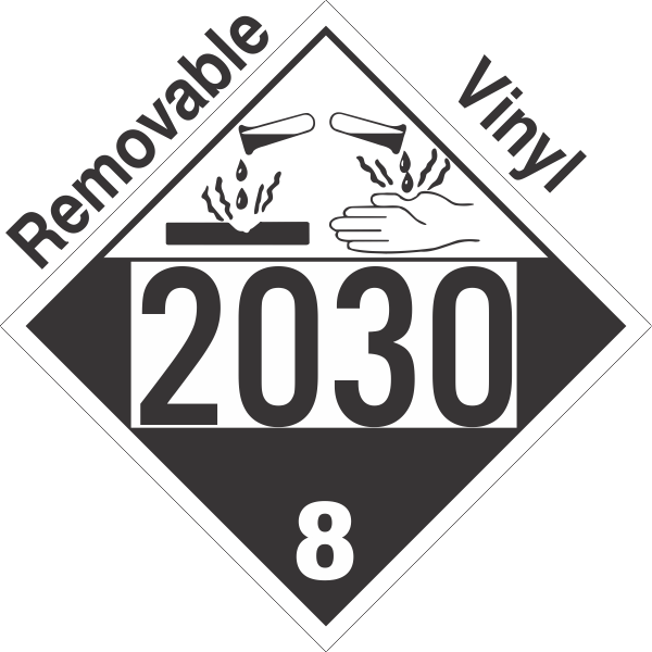 Corrosive Class 8 UN2030 Removable Vinyl DOT Placard