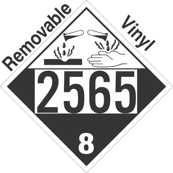 Corrosive Class 8 UN2565 Removable Vinyl DOT Placard