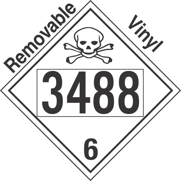 Poison Toxic Class 6.1 UN3488 Removable Vinyl DOT Placard