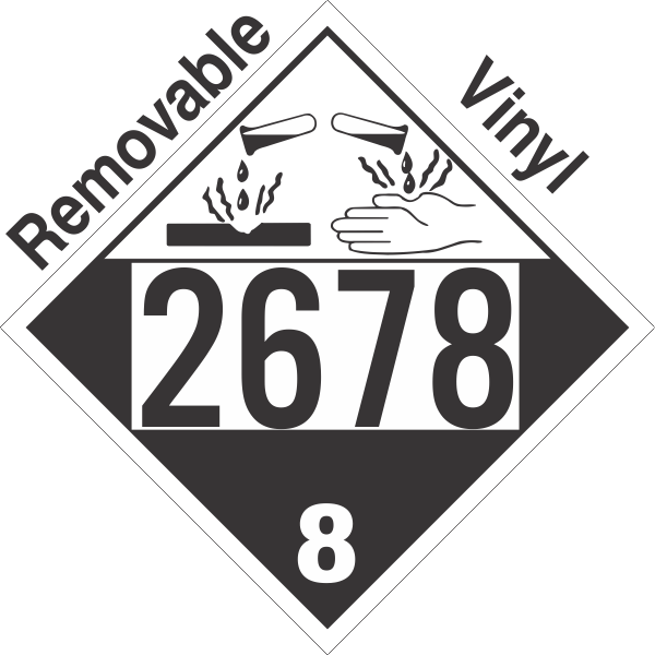 Corrosive Class 8 UN2678 Removable Vinyl DOT Placard