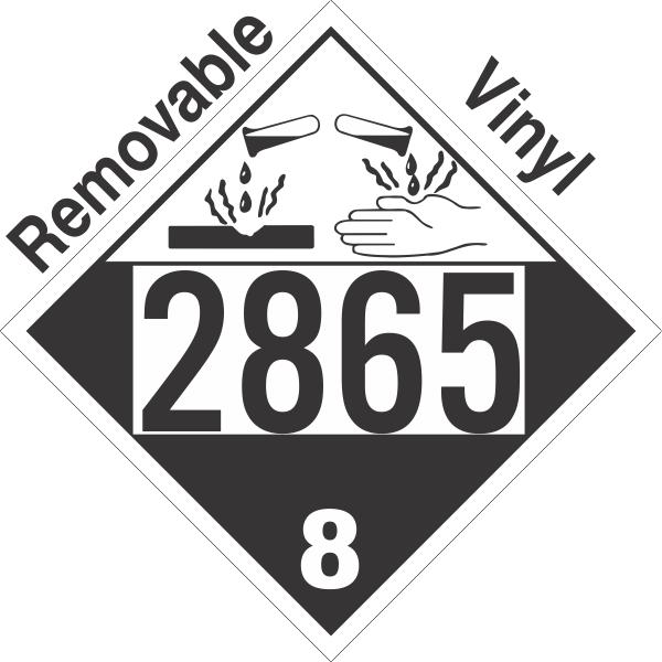 Corrosive Class 8 UN2865 Removable Vinyl DOT Placard