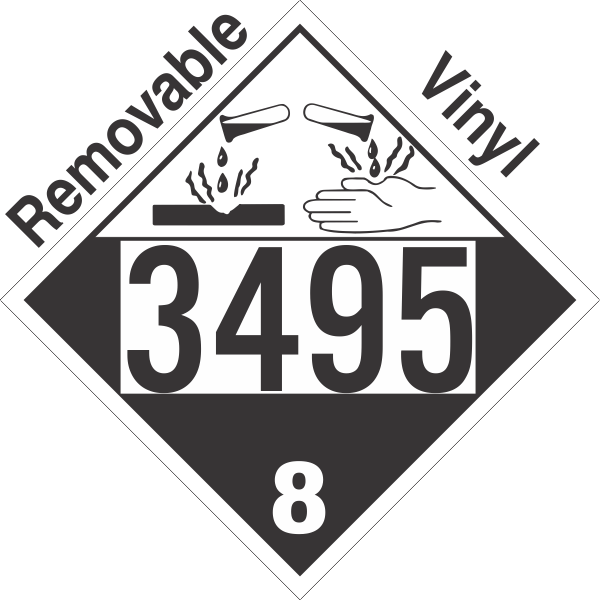 Corrosive Class 8 UN3495 Removable Vinyl DOT Placard