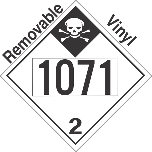 Inhalation Hazard Class 2.3 UN1071 Removable Vinyl DOT Placard