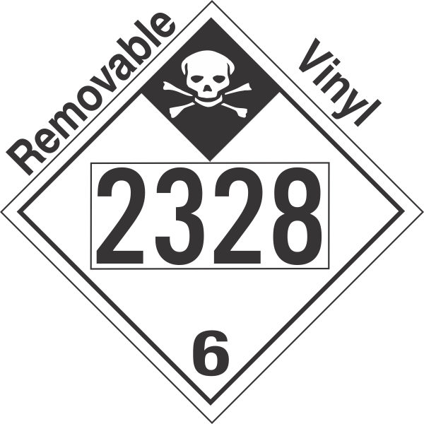 Inhalation Hazard Class 6.1 UN2328 Removable Vinyl DOT Placard