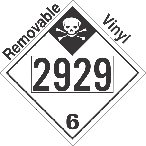 Inhalation Hazard Class 6.1 UN2929 Removable Vinyl DOT Placard