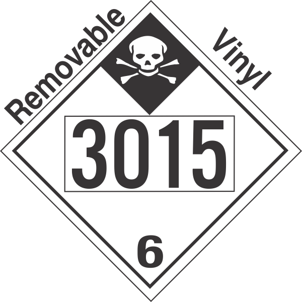 Inhalation Hazard Class 6.1 UN3015 Removable Vinyl DOT Placard