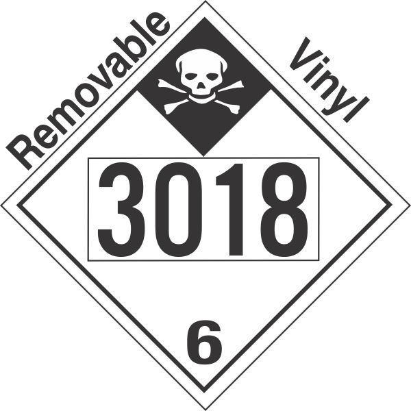 Inhalation Hazard Class 6.1 UN3018 Removable Vinyl DOT Placard