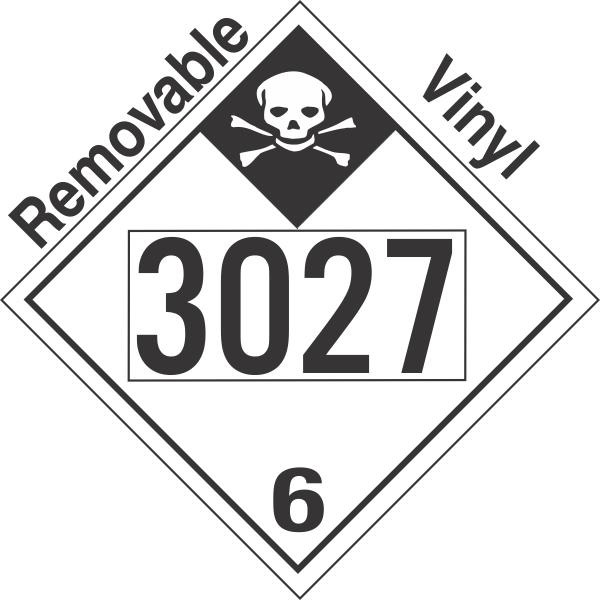 Inhalation Hazard Class 6.1 UN3027 Removable Vinyl DOT Placard
