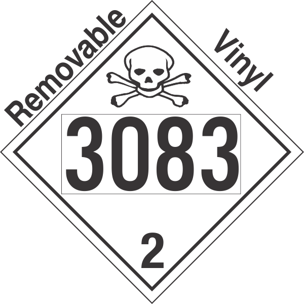 Toxic Gas Class 2.3 UN3083 Removable Vinyl DOT Placard