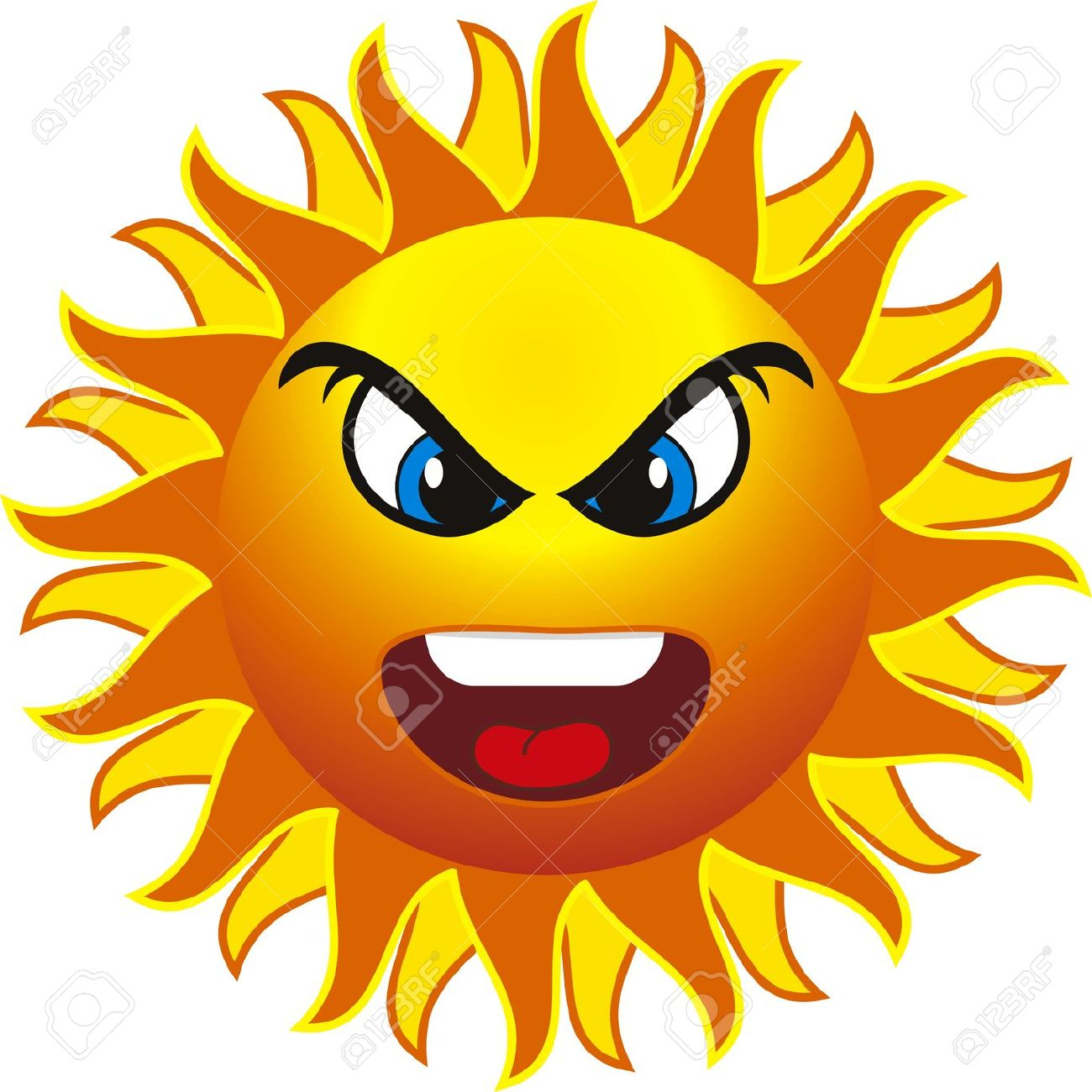 hight resolution of free angry sun clipart