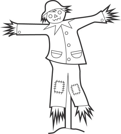 black and white scarecrow clipart