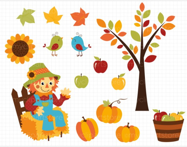 fall scarecrow borders clipart