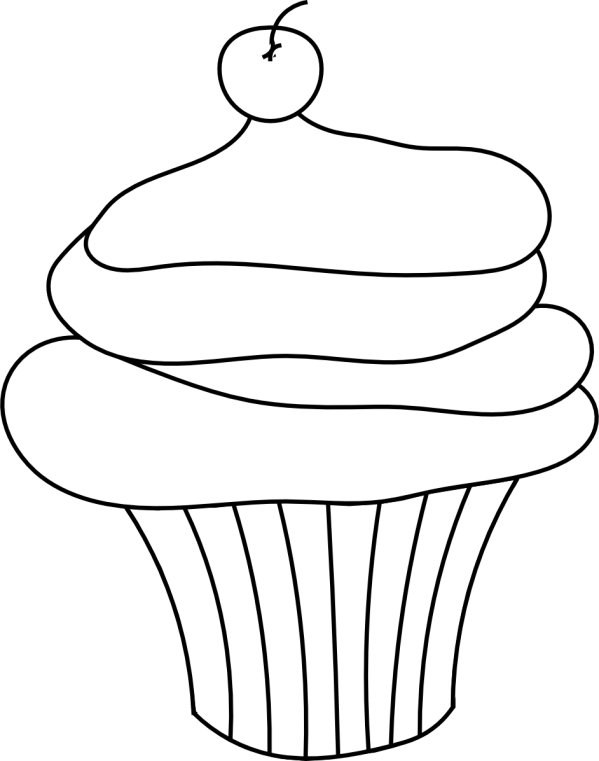 cupcake outline clipart 9