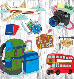 8 traveling clipart luggage passport airplane [ 1500 x 1448 Pixel ]