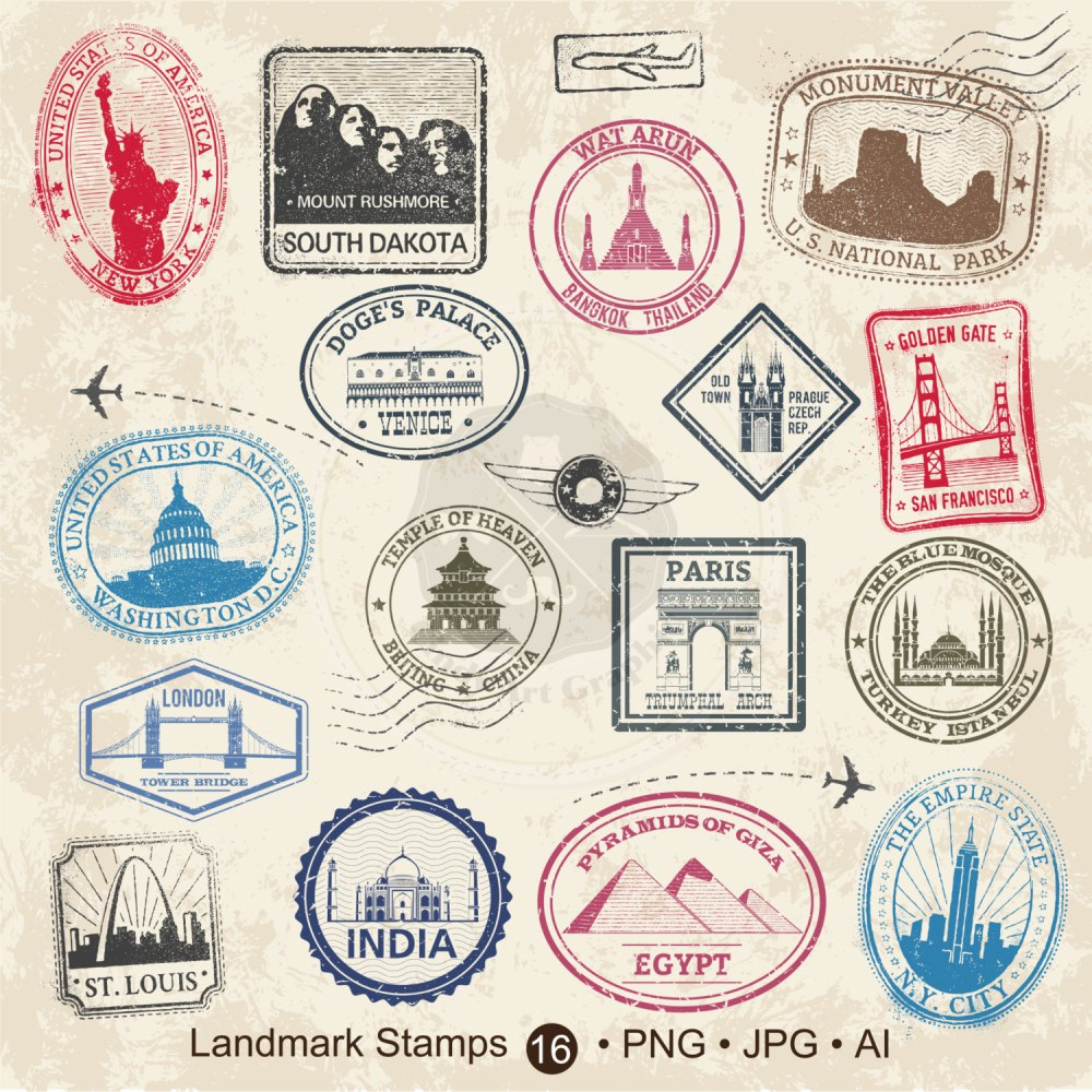 medium resolution of landmark stamps clipart travel stamps clipart passport ctamps