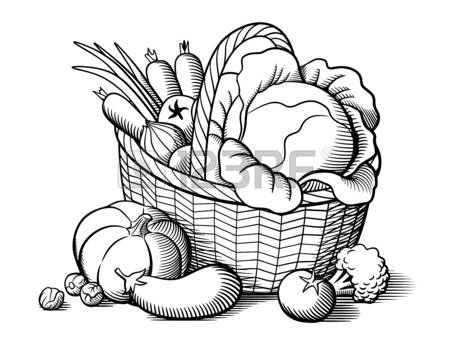 Vegetables black and white basket of vegetables clipart