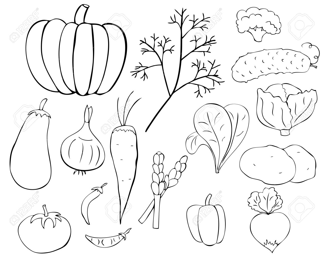 Vegetables Black And White Clipart Vegetables Black And